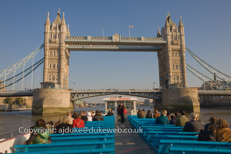 Tower Bridge from a river cruise boat on the Thames London