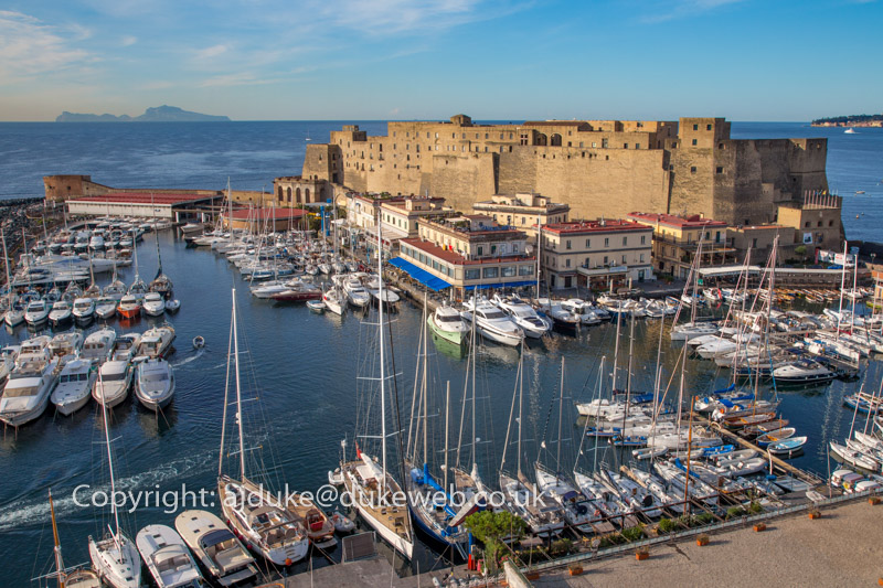 Castel dell'Ovo and marina, Ovo Castle in Naples, Italy