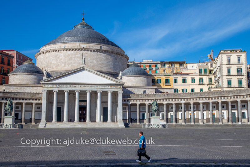 Piazza del Plebiscito and the Basilica Reale San Francesco di Paola, Naples, Italy
