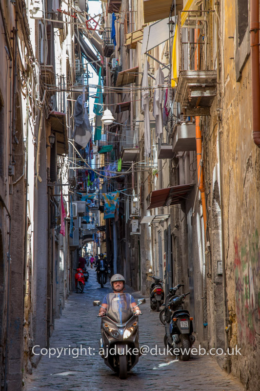 Narrow street in Naples, Italy