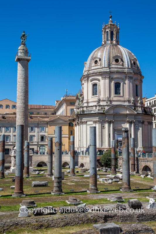 Roman Basilica Ulpia, Trajan's Column and holy Mary church, Rome, Italy