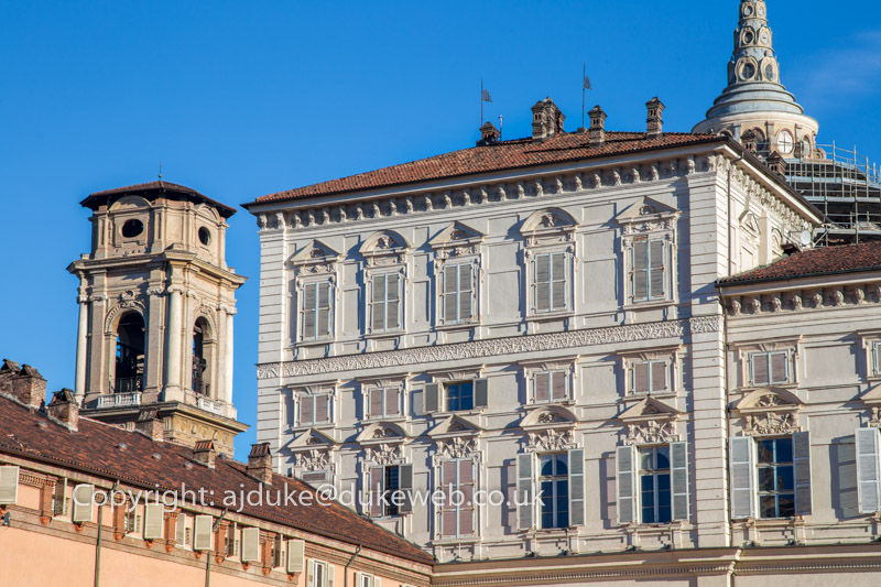 Palazzo Reale, the Royal Palace of Turin and the cathedral bell tower, Italy
