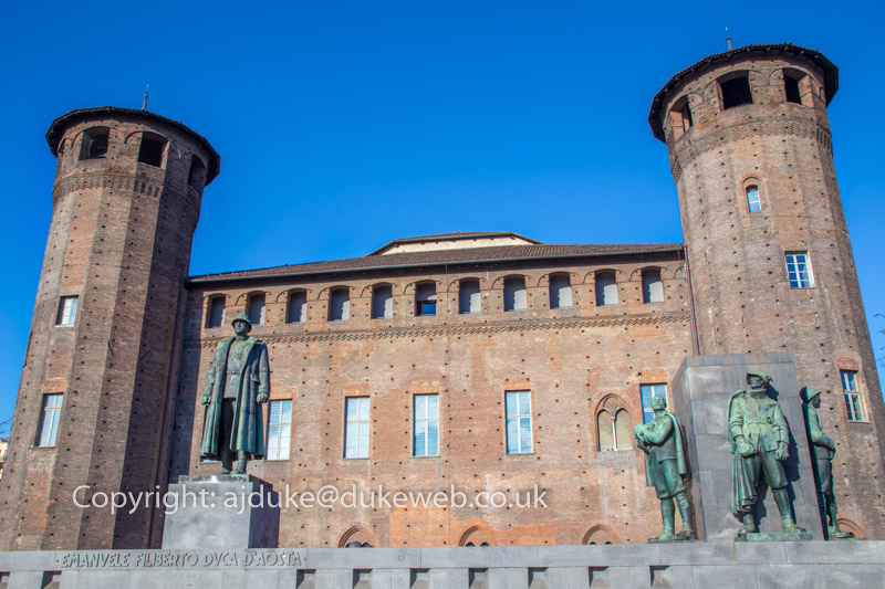 Medieval Castello castle at the back of Palazzo Madama, Turin, Italy
