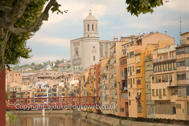 Cathedral and river side buildings, Girona, Catalonia, Spain
